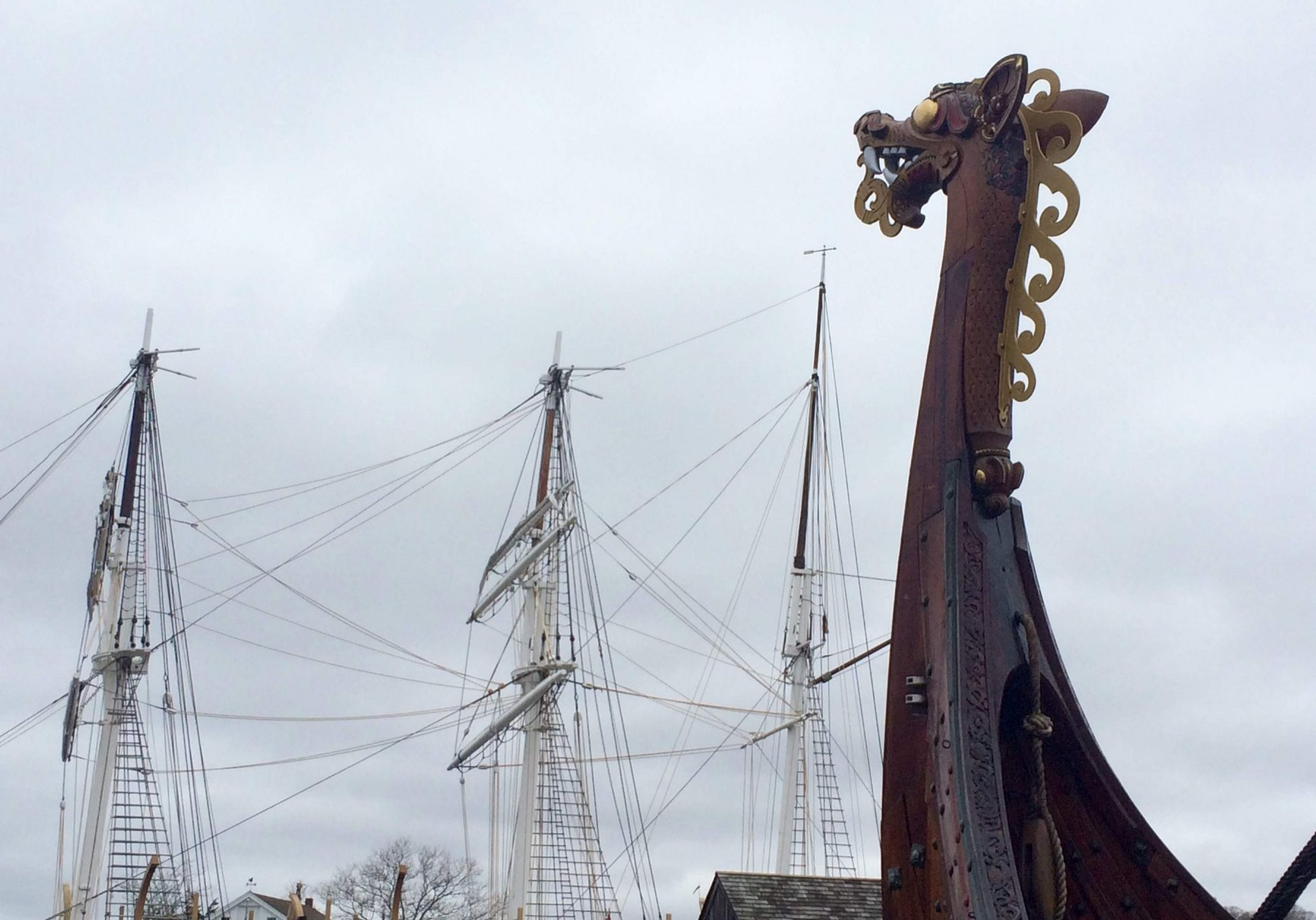 Rigging and detailed carvings from boats at Mystic Seaport